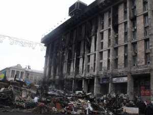 Dům odborů v centru Kyjeva, odkud podle Mikaela Skillta stříleli ze třetího patra ostřelovačí patřící k opozici
