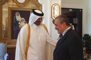 Karel Schwarzenberg a Tamím ibn Hamad Al Sání