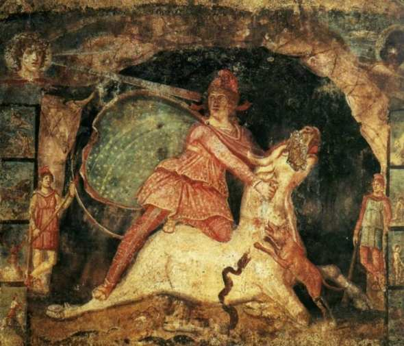 Mithras and the bull, fresco from Temple of Mithras, Marino, Italy, dated 2-nd AD