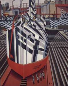 Edward Wadsworth, Dazzle-ships in Drydock at Liverpool, 1919