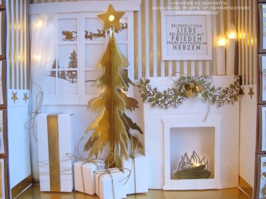 Adventskalender 7 weiß-gold 2015