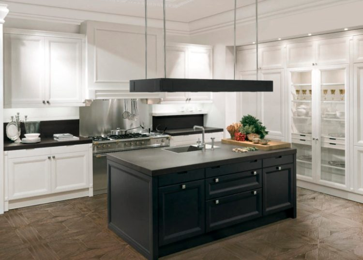 Black-and-White Kitchen with Island