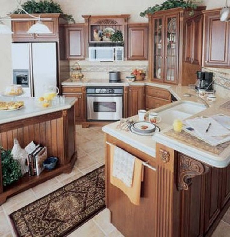 Cherry-Finished Country-Style Kitchen Cabinets
