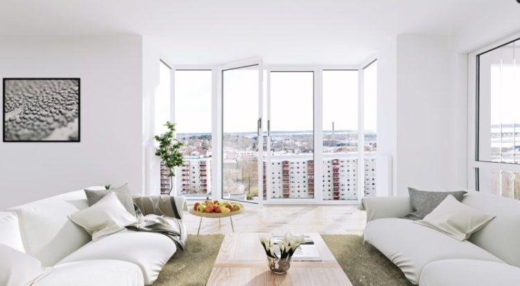 Apartment with floor to ceiling windows