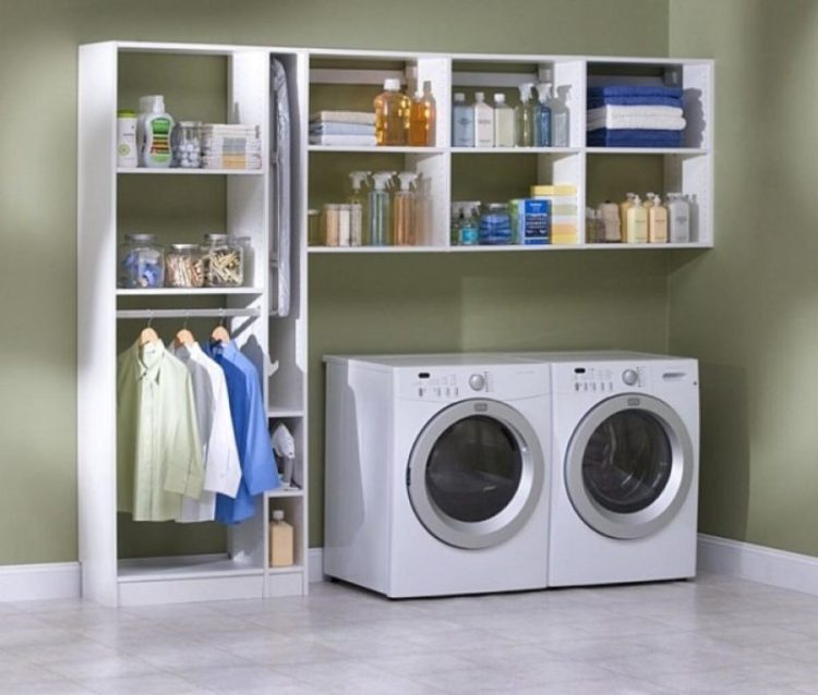 Open wall shelf for laundry room