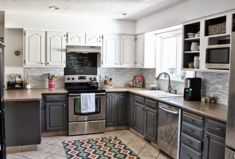 Masculine Two Tone Kitchen Cabinets