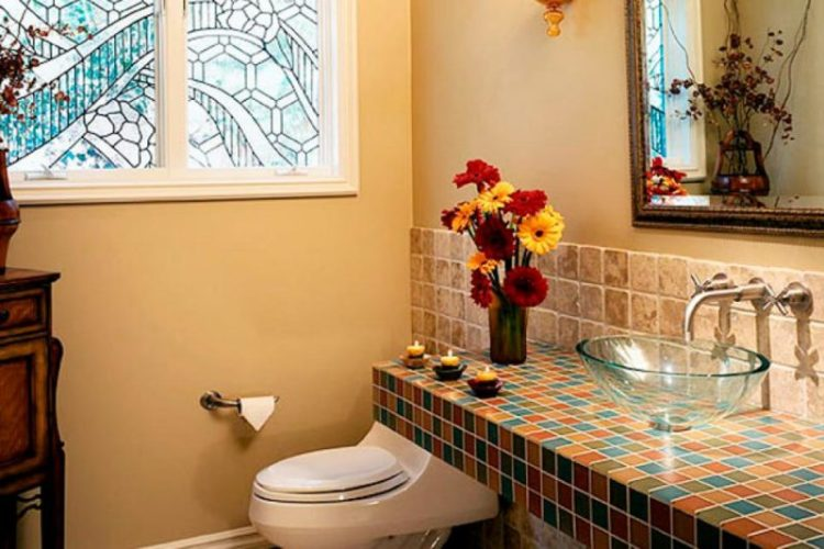 Mediterranean-Style Powder Room