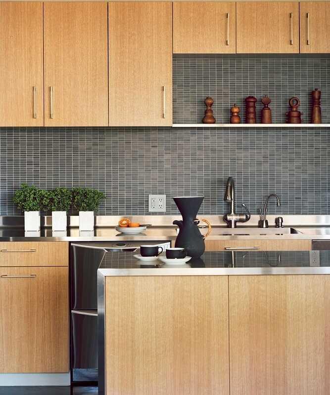 grey subway tile backsplash with oak cabinets countertops