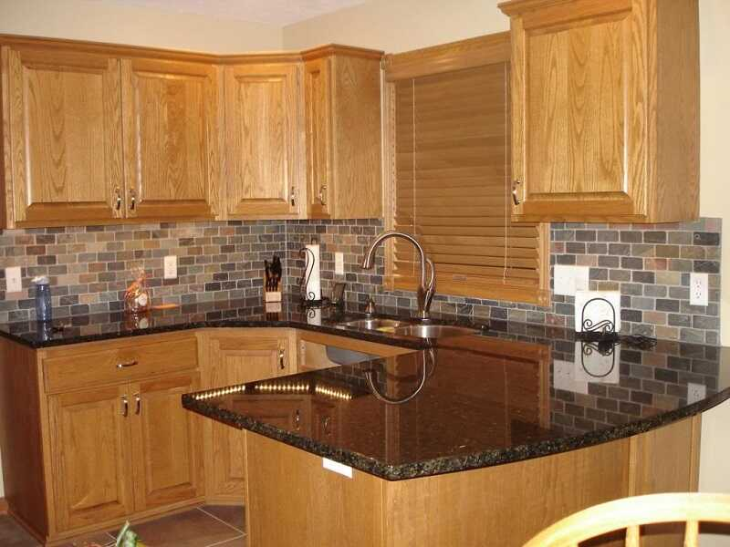 kitchen tile backsplash ideas oak cabinets
