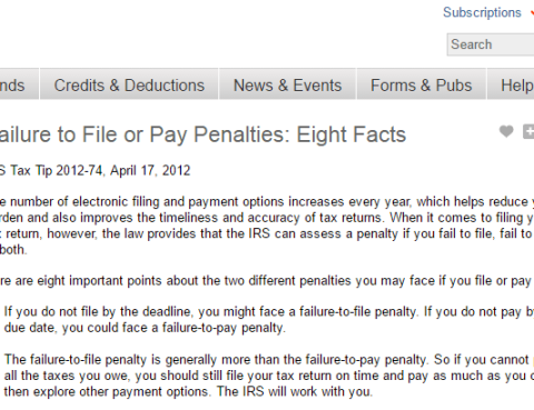 Failure to pay taxes - IRS penallties