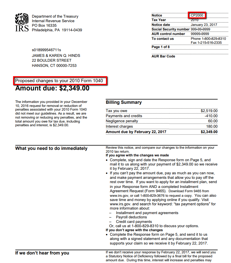 IRS CP2000 Notice of Under reported Income – San Diego Tax Attorney