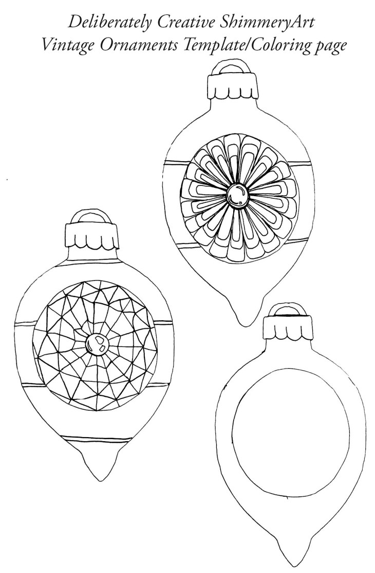 drop style christmas ornaments line art