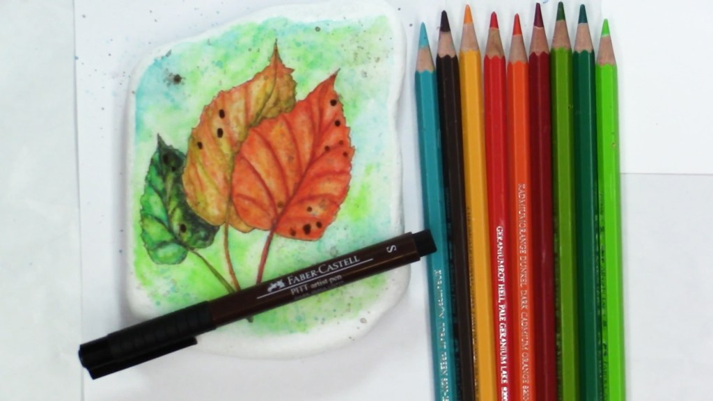 watercolor pencil on a rock