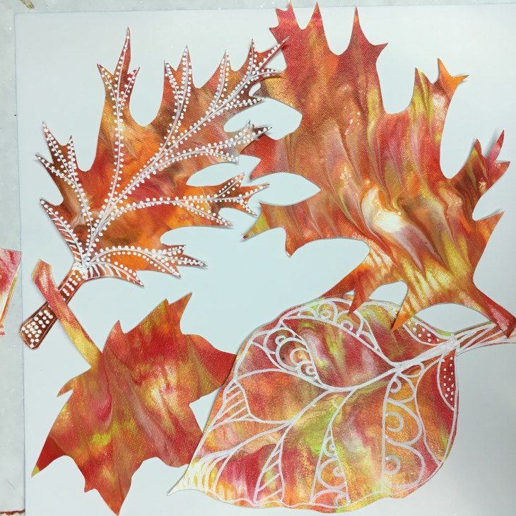 Gold, Orange Red and Yellow abstract painted leaves from previous video.