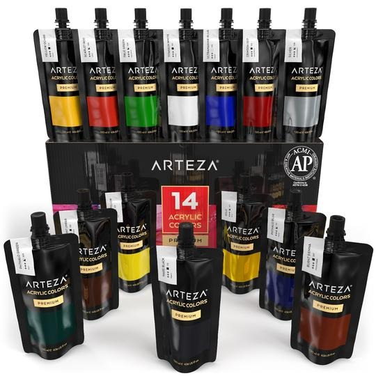 packs of paints and canvases
