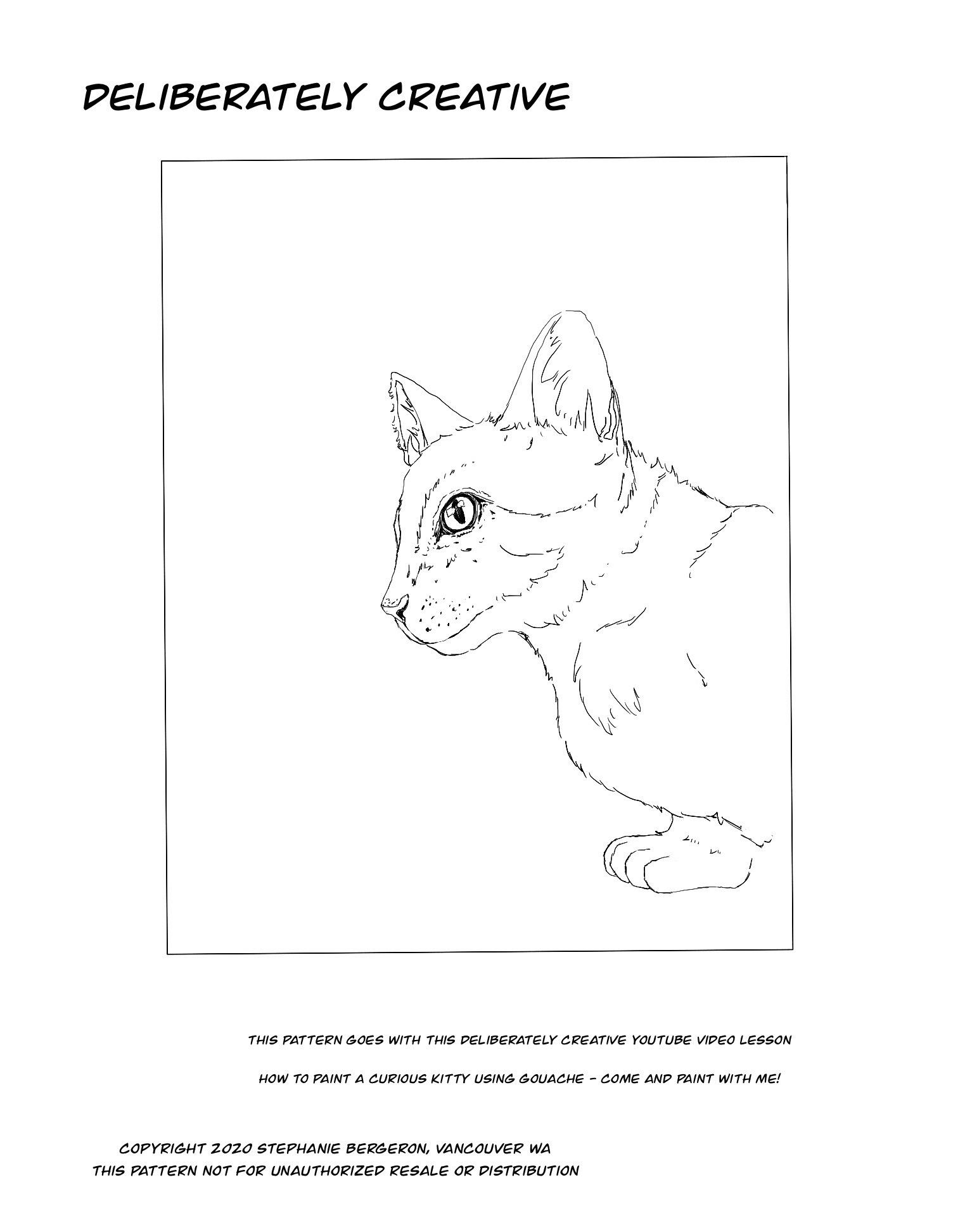 line art head and shoulder of a cat