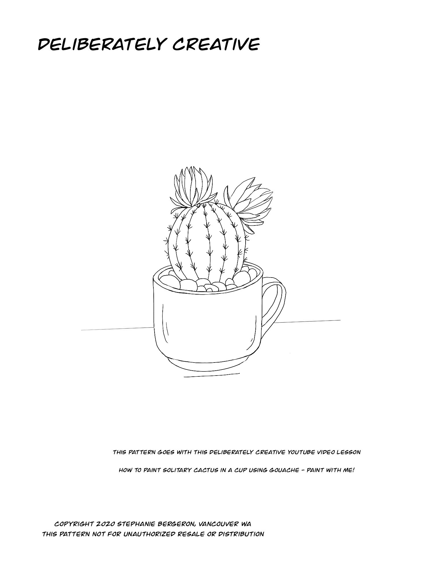 line art small cactus with flowers in a coffee cup