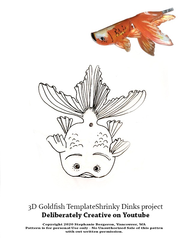 line art pattern Shrinking goldfish