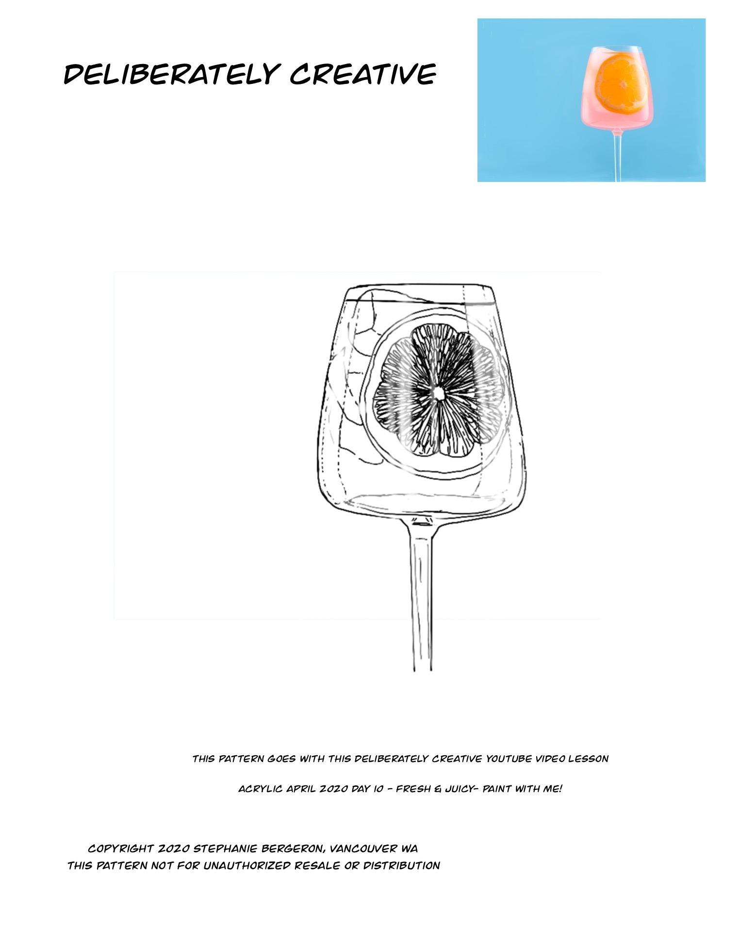 line art wine glass with fruit juice