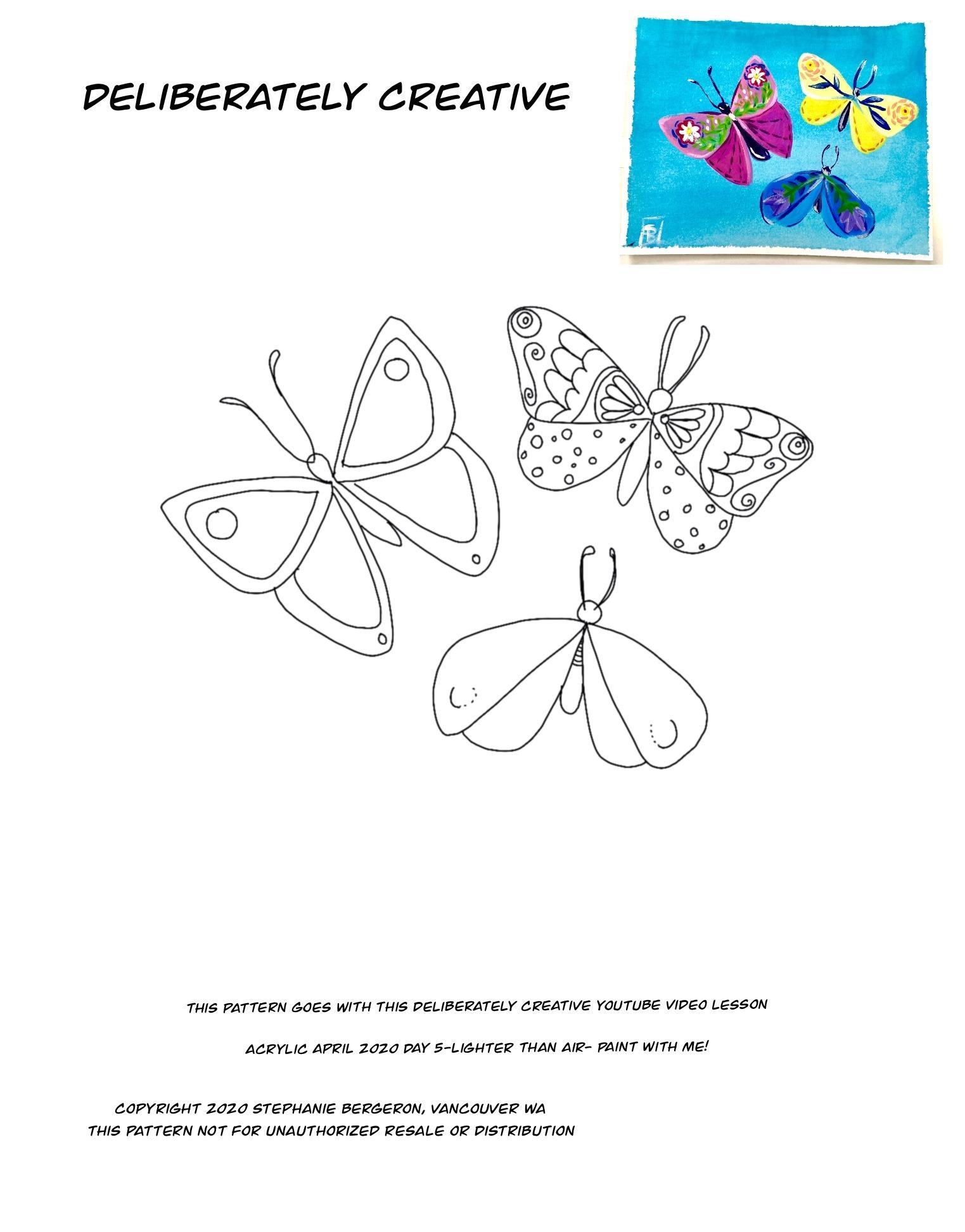 line art folk art butterflies