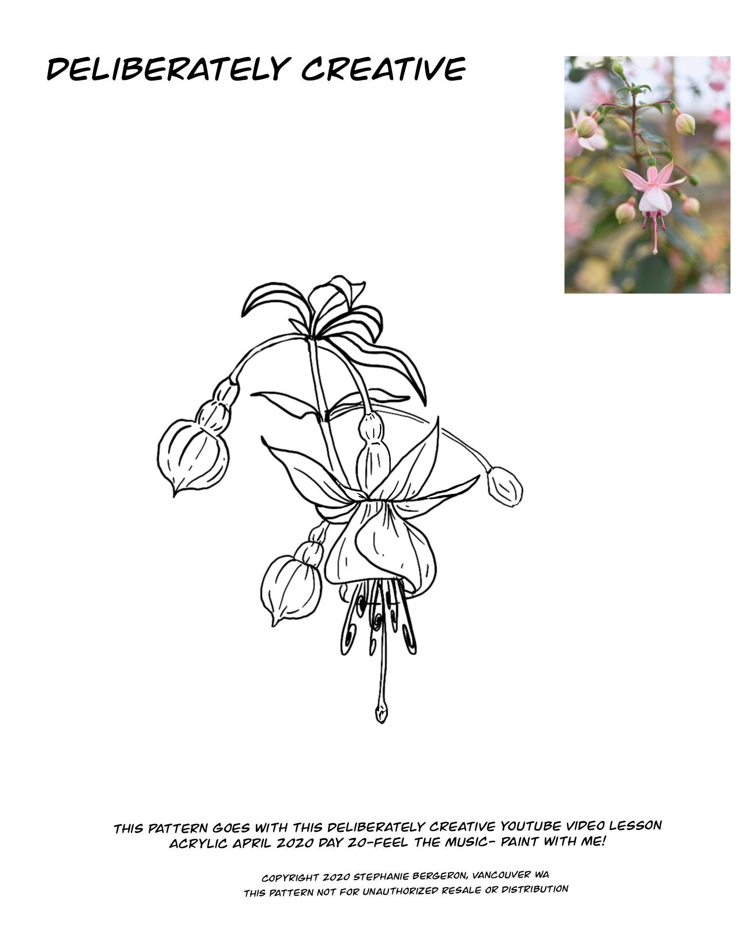 line art of Fuchsia flowers