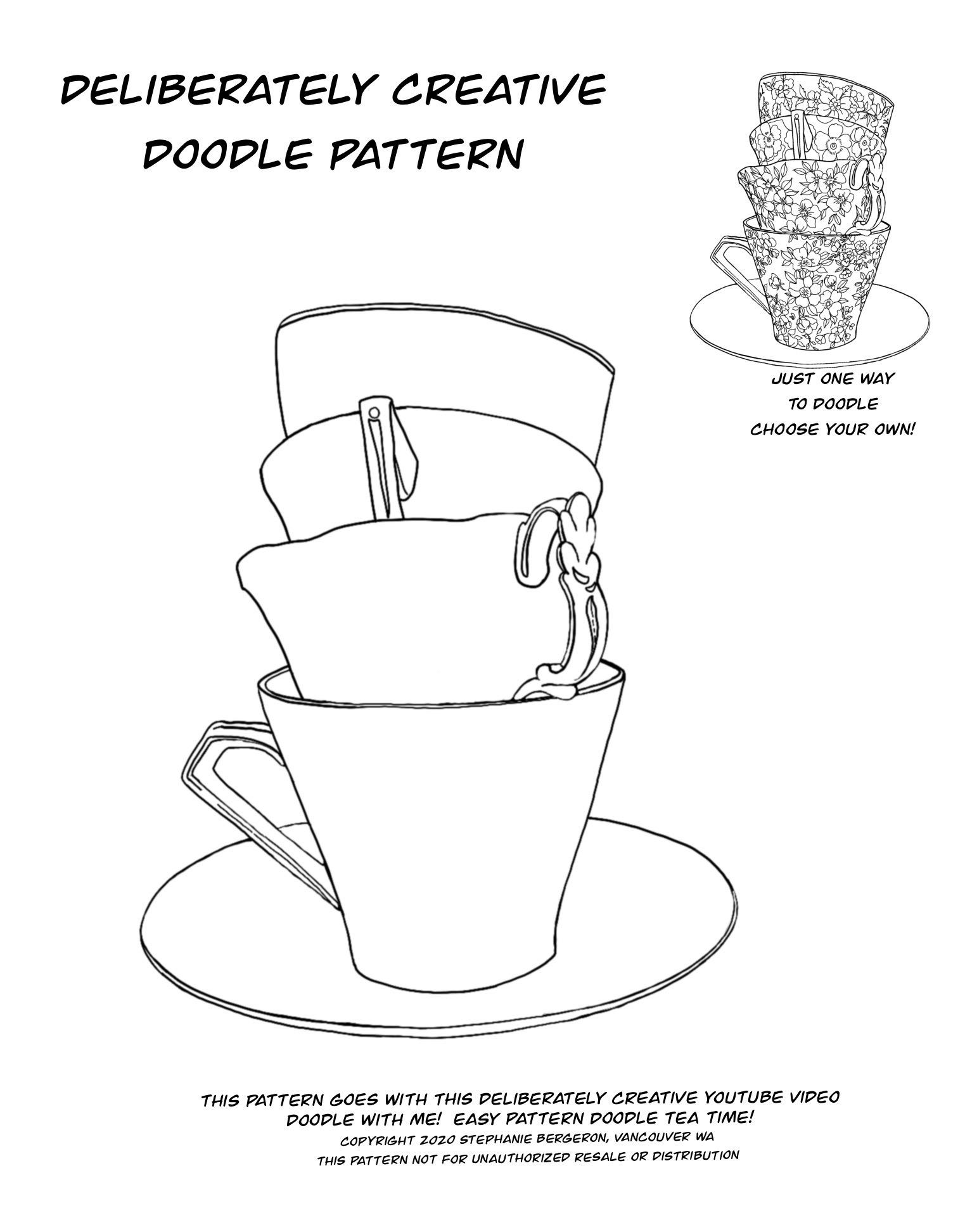 line art Teacup stack