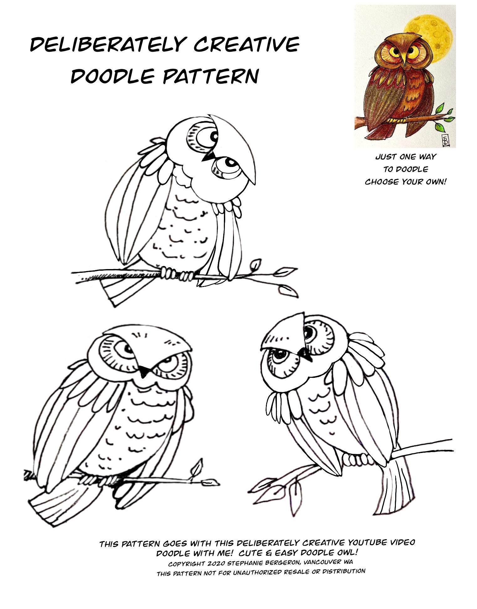 black line art Doodle Owls patterns and coloring sheet