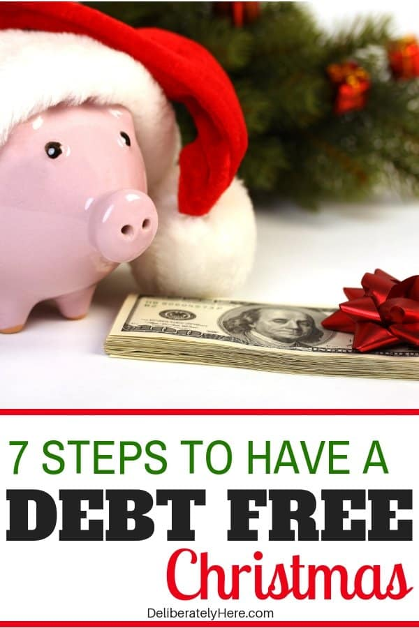 How to have a debt free Christmas in 7 easy steps. Save money this holiday season with these frugal living tips for beginners. Save money on Christmas with these easy money saving tips. Save money fast. stay on budget this Christmas. How to create a Christmas budget that you can stick to.