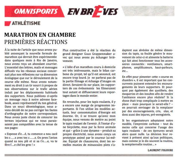 Marathon en chambre : premières réactions ©Philippe Mignon