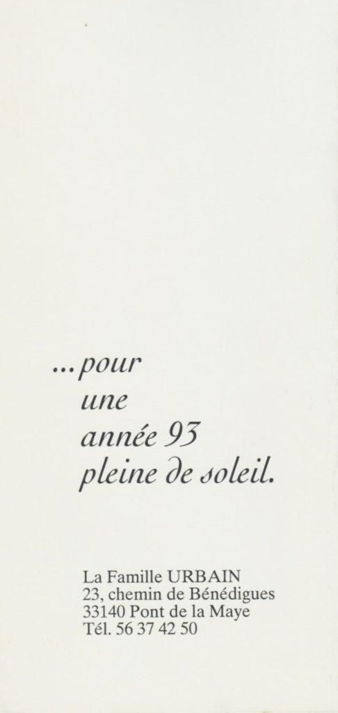 Les vœux des Z'Urbains 1993 ©Famille Urbain
