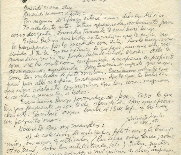 Roque Dalton, correspondance clandestine La première lettre depuis Mexico, juste après l'arrivée du Salvador © Archives de la famille Dalton