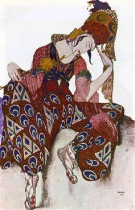 """Nijinski dans """"La Péri"""" de Paul Dukas, en 1911, vu par Bakst (Bibliothèque de l'arsenal)"""