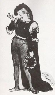 Dessin du costume d'Albert, dans Giselle, interprète Serge Lifar, par Alexandre Benois (1947)