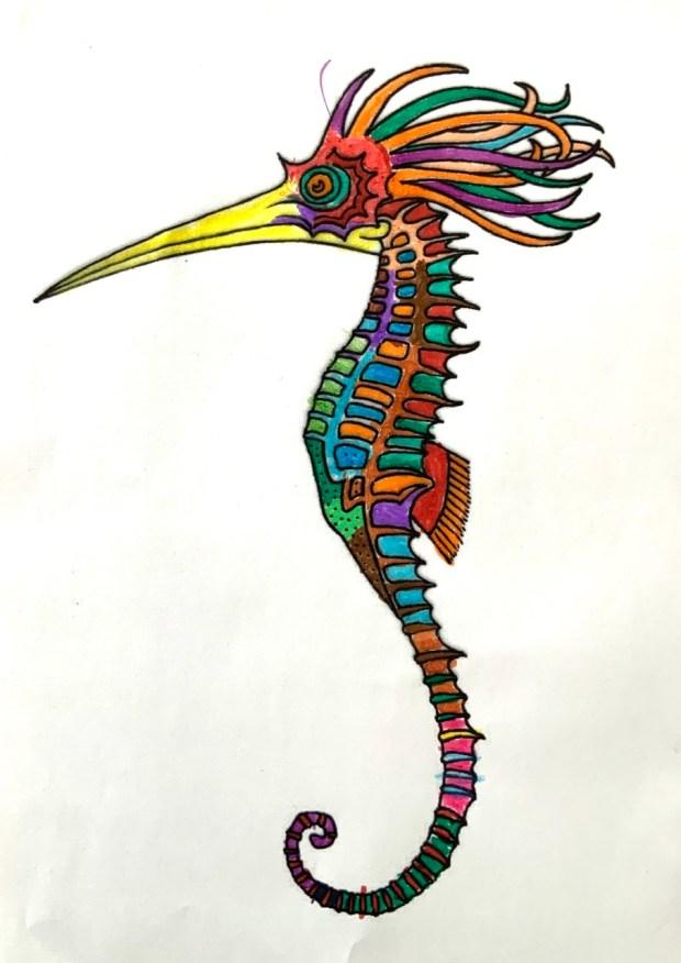 L'hippocampe resplendissant colorié par Manuel, sur un dessin original de Philippe Mignon
