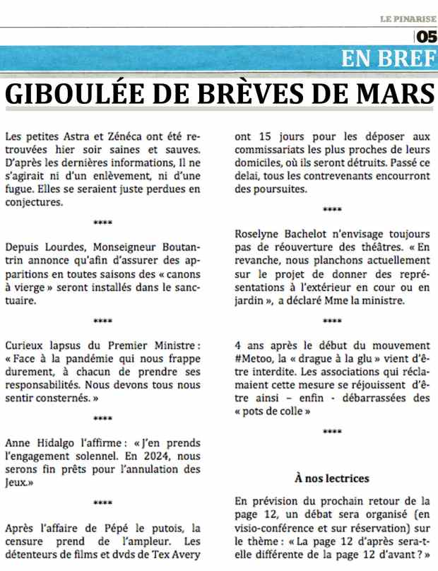 Giboulée de brèves de mars par Philippe Mignon