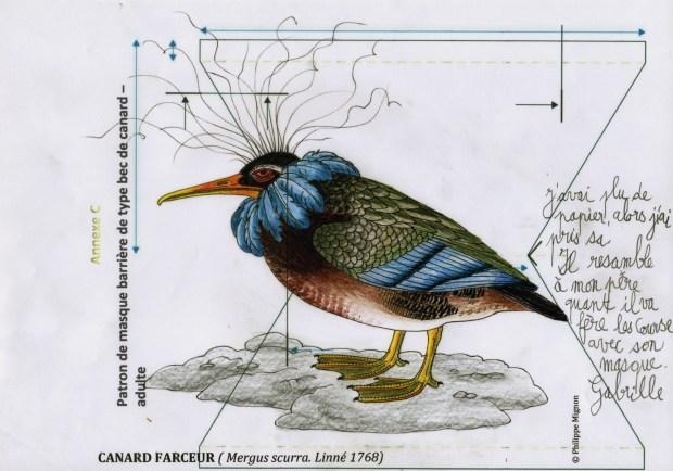 Canard farceur colorié par Gabrielle sur un patron de masque et un dessin original de Philippe Mignon