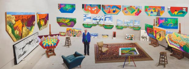 "David Hockney, ""In the Studio, December 2017"". © David Hockney - assisted by Jonathan Wilkinson / Courtesy Galerie Lelong & Co. Photo : Richard Schmidt"