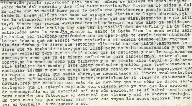Fragment de la lettre du 23 décembre 1974 ©Archives de la famille Dalton