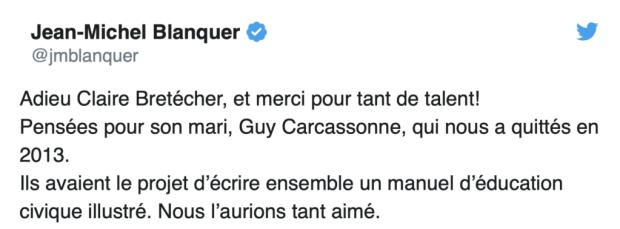 """Le tweet de Jean-Michel Blanquer en """"hommage"""" à Claire Bretécher"""