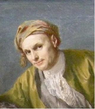 Comme Scarlatti, Jacopo Amigoni (autoportrait, vers 1750), est né à Naples et mort à Madrid. Ce grand peintre de cour était spécialisé dans le portrait officiel et la scène mythologique. Sa peinture se caractérise par des compositions très géométriques. La position guindée de Scarlatti, le torse bombé en arc de cercle, est tout à fait dans son style.