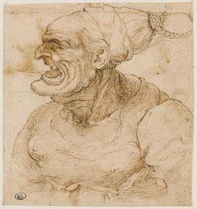 Léonard de Vinci, Profil de femme grotesque à gauche, la bouche ouverte © RMN-Grand Palais