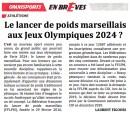 Le lancer de poids marseillais aux J.O.2024?