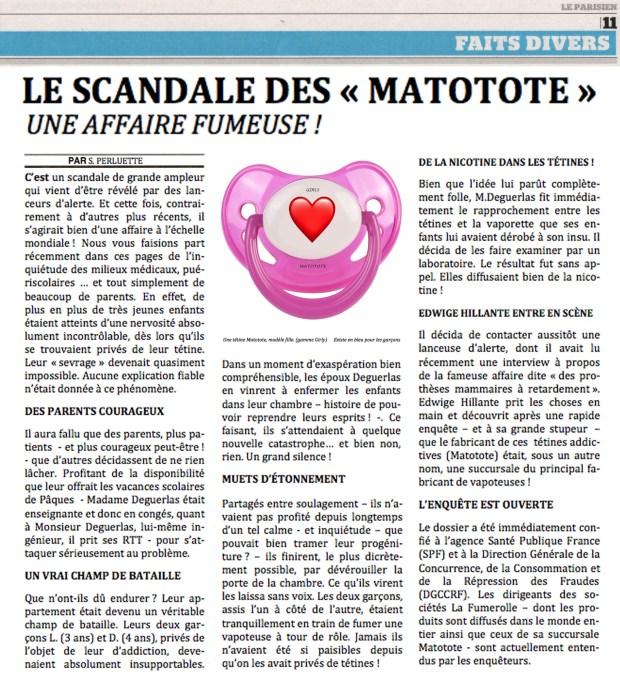 Le scandale Matotote © Philippe Mignon