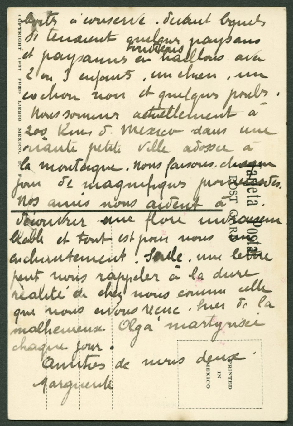 Deuxième partie de la lettre adressée par Marguerite Rosmer à Daniel Martinet, le 18 août 1939