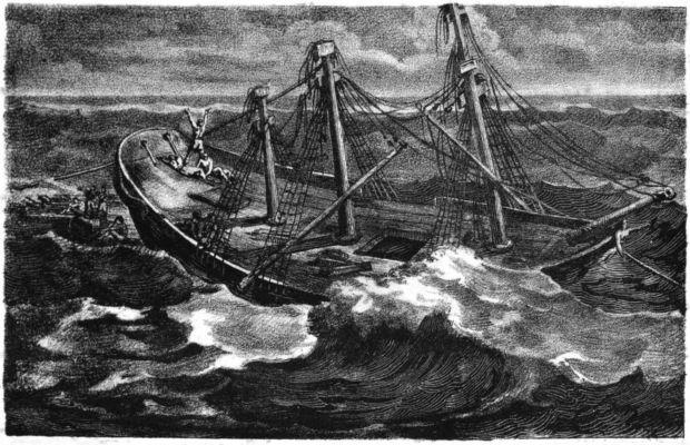 Lithographie de Charles Motte. Illustration tirée de l'ouvrage de Corréard et Savigny - Naufrage de la frégate La Méduse, 1821