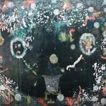 """Hélène Delprat, """"Peinture pourrie"""", 2014, pigments, acrylique et paillettes argent sur toile, 200 x 295 cm. © ADAGP, Paris 2017. Courtesy Collection Antoine de Galbert"""