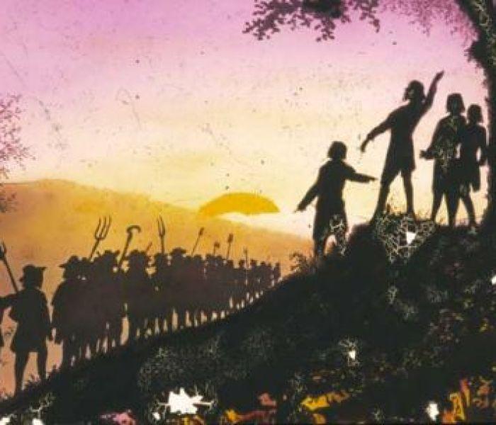 Samuel Bastide, Assemblée. La nuit du 23 Juillet 1702, celle qui ouvre la « guerre des Camisards » par la réunion d'un cinquantaine de jeunes gens armés au site des 3 Fayards, sur le Mont Bougès, autour du prophète Abraham Mazel. SUR LES TRACES DES CAMISARDS, carnet de bord de Thomas Gayrard dans délibéré. ©Musée des Vallées Cévenoles de Saint-Jean-du-Gard