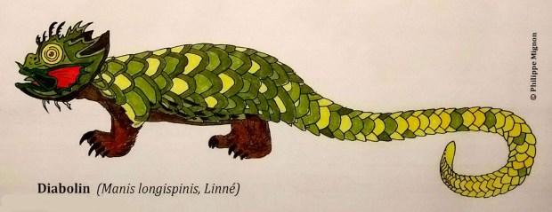 Le diabolin colorié par Timothée, sur un dessin original de Philippe Mignon