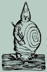 Véritable portrait de Monsieur Ubu, par Alfred Jarry. Bois de 74 x 113 mm publié dans Le Livre d'Art, n°2, 25 avril 1896, dans l'édition originale d'Ubu Roi et la Revue Blanche du 15 août 1896