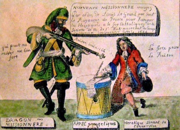 """Les dragons du roi. Lithographie en couleurs de G.Engelmann d'après un dessin fait en 1686 © SHPF, Paris. """"Sur les traces des camisards"""" une chronique de Thomas Gayrard dans délibéré"""